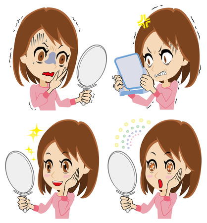 astonished: Young woman to see a mirror Illustration