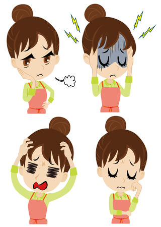 young housewife who is troubled Illustration