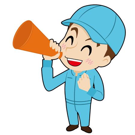 talks: mechanic who talks with a megaphone