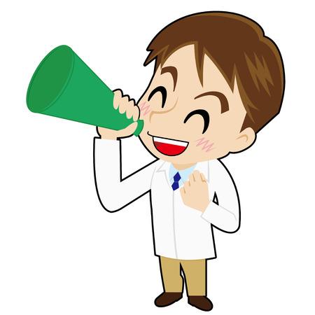 talks: pharmacist who talks with a megaphone Illustration