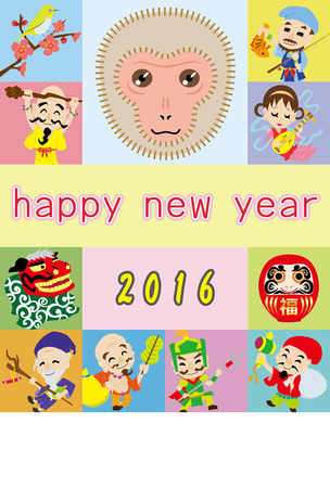 deities: New Years card of monkey and seven Deities