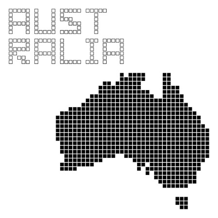 map of australia: pixel art of Australia (black)