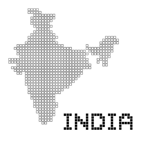 map of india: pixel art of India (frame) Illustration