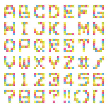 Font of pixel art (colorful)  イラスト・ベクター素材