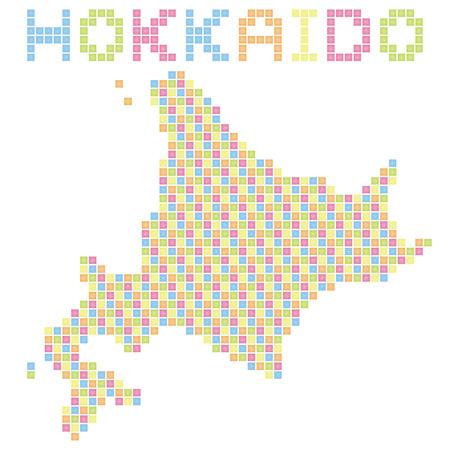 hokkaido: pixel art of Hokkaido (colorful)