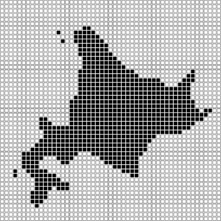 hokkaido: pixel art of Hokkaido (black and white)