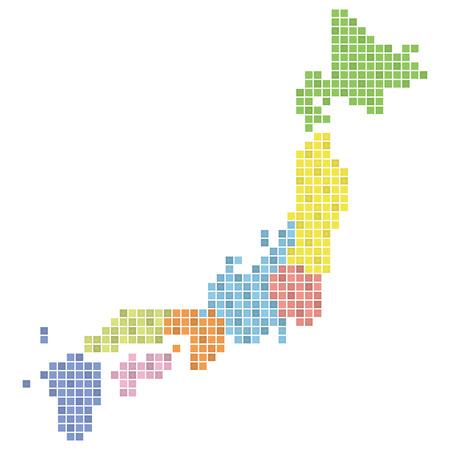 日本地図 (カラフルな) のピクセル アート  イラスト・ベクター素材