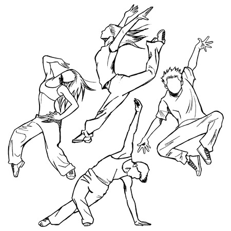 jazz dancer: Sketching of the jazz dancer Background of body is white