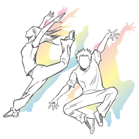 Sketching of the jazz dancer pastel shades