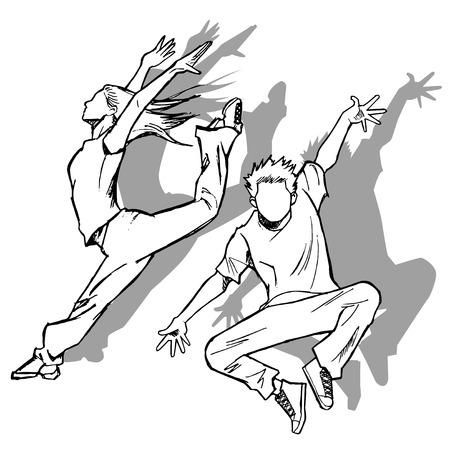 jazz dancer: Sketching of the jazz dancer monochromatic shadow
