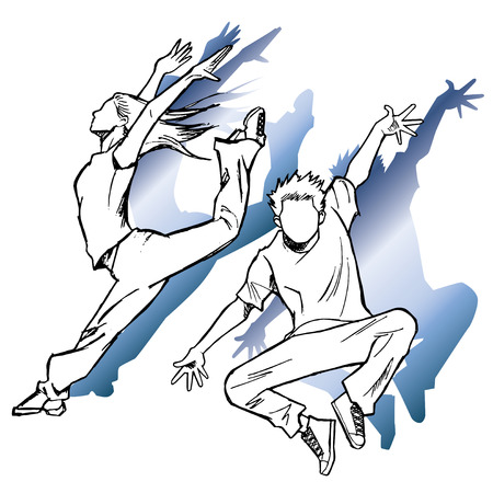 Sketching of the jazz dancer blue shadow