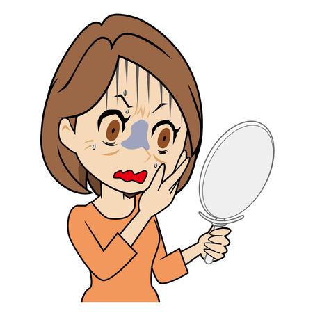 鏡を見て怖がっている中年女性