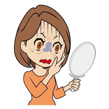 Middleaged woman who is scared to watch a mirror Vettoriali