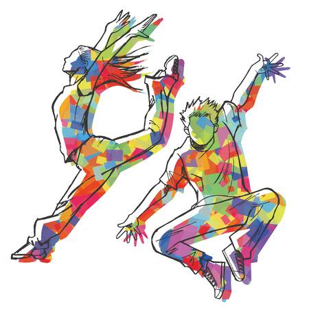 Schetsen van de jazz danser Kleurrijke silhouet