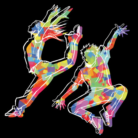 jazz modern: Sketching of the jazz dancer Colorful silhouette and black