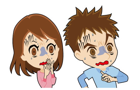 young couple who look pale Illustration