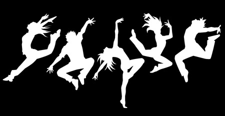 woman jump: Silhouette of dancers Black background Illustration