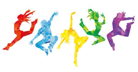jumps: Silhouette of dancers