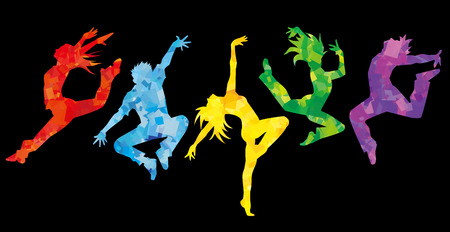 jazz dance: Silhouette of dancers.Black background