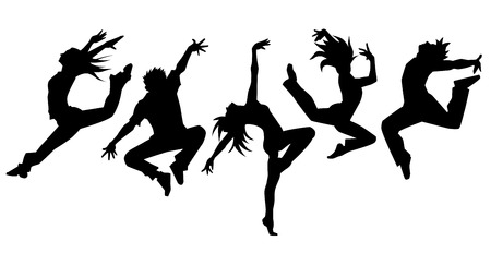 woman jump: Silhouette of dancers simple