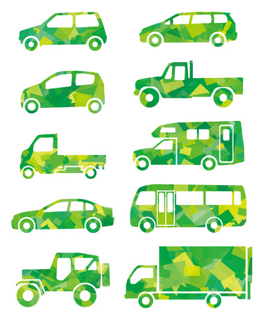 yellowish: green silhouette of car