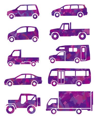 purple car: purple silhouette of car Illustration
