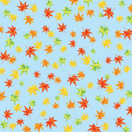 Background of maple and ginkgo (sky blue)