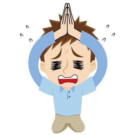 apologize: young man who apologizes as kneeling