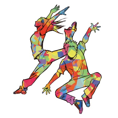 symbol people: Sketching of two jazz dancer Colorful silhouette Illustration