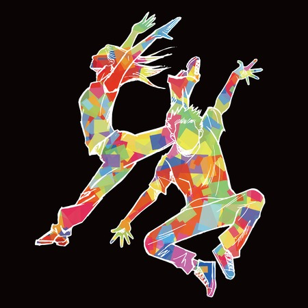Sketching of two jazz dancer Colorful silhouette and black