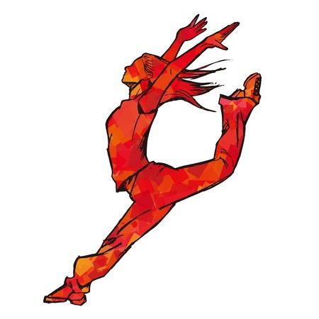 Schetsen van vrouwelijke danser rood Vector Illustratie