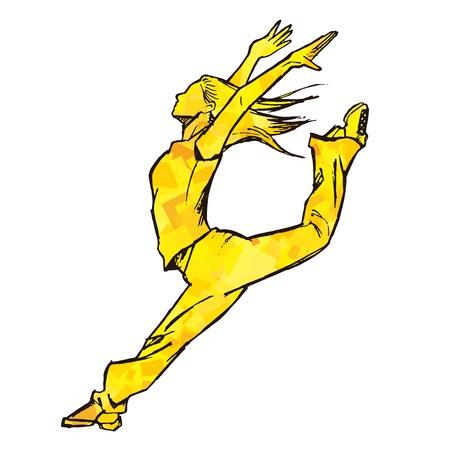 Sketching of female dancer yellow