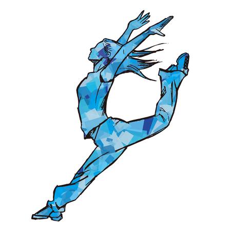 Schetsen van vrouwelijke danser blauw Vector Illustratie