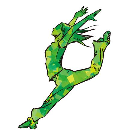 Sketching of female dancer green