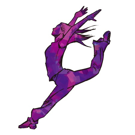 voluptuous: Sketching of female dancer purple Illustration