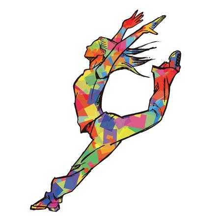 jazz dancer: Sketching of female dancer colorful
