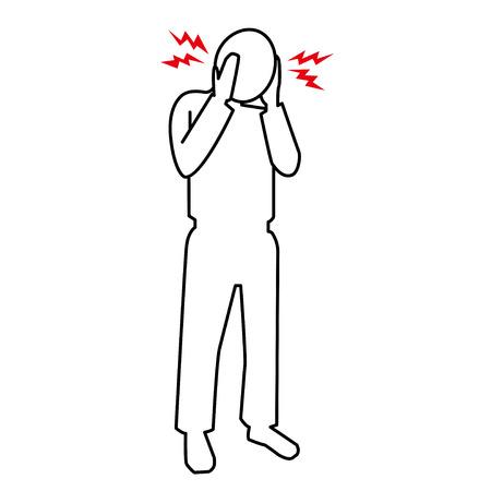 symptom: pictogram of headache Illustration