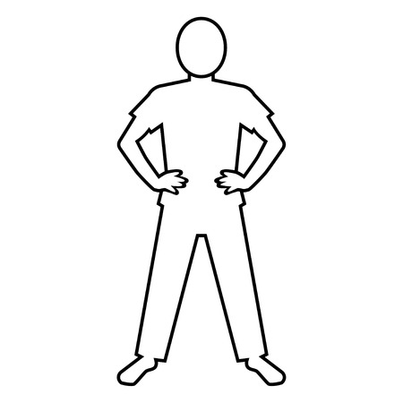 ones: pictogram of person who stands with ones arms akimbo (T-shirt) Illustration