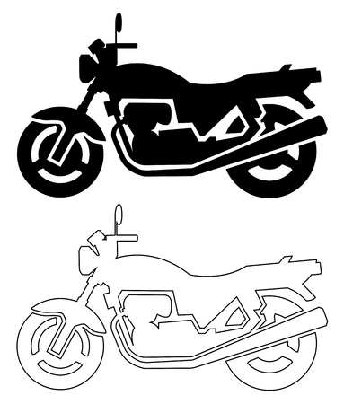 silhouette of motorcycle black and line Vettoriali