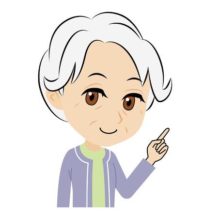 explains: old woman who explains Illustration