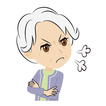 grey hair: old woman who gets displeased