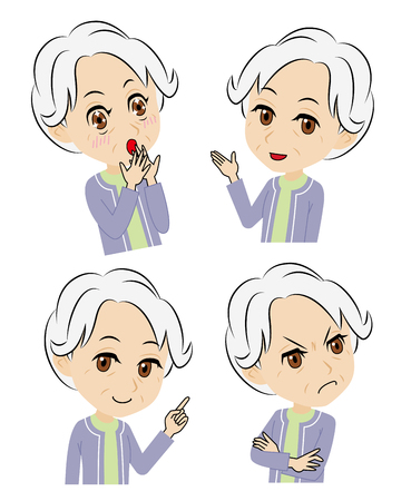 introduces: old woman-gets surprised and pleased, introduces, explains, and gets displeased-