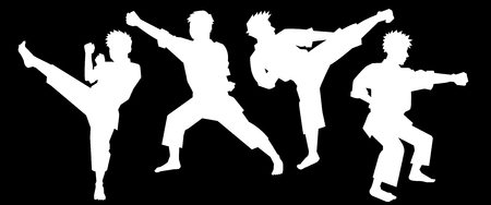 male teenager: silhouette of karate fighters-Black background-