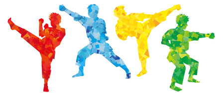silhouette of karate fighters-colorful-