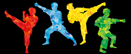 silhouette of karate fighters-colorful Black background-