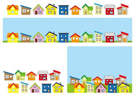 deform: row of a simple house-color-