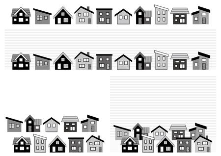 Fila de una casa simple-monocromo- Ilustración de vector