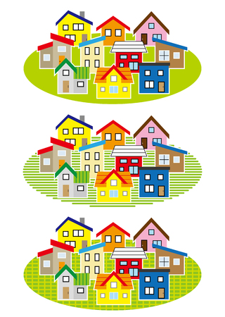 deform: simple residential area-color- Illustration