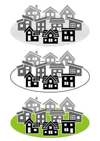deform: simple residential area-silhouette-