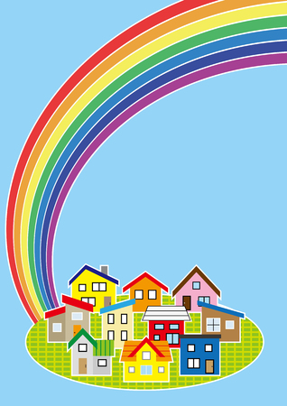 Simple residential area and rainbow colour Illustration